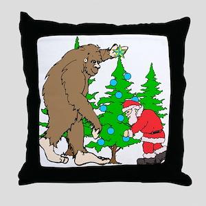 Bigfoot, Santa Christmas Throw Pillow