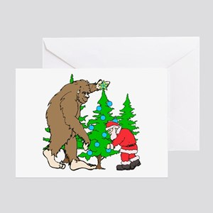 Bigfoot, Santa Christmas Greeting Card