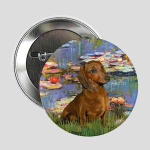 """Lilies & Dachshund 2.25"""" Button"""