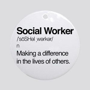 Social Worker Definition Round Ornament