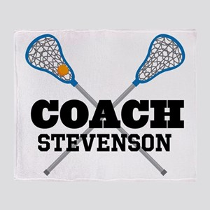 Lacrosse Coach Personalized Throw Blanket
