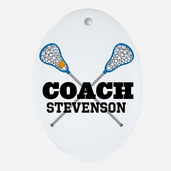 Lacrosse Coach Personalized Ornament (Oval)