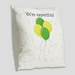 Were Expecting Burlap Throw Pillow
