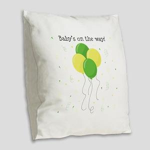 Baby On Way Burlap Throw Pillow