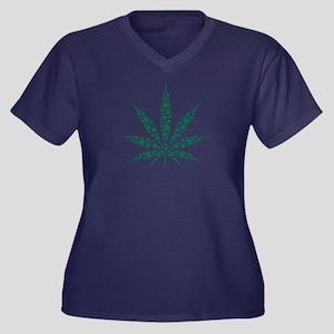 Marijuana le Women's Plus Size V-Neck Dark T-Shirt