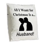 Christmas Husband Burlap Throw Pillow