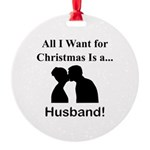 Christmas Husband Round Ornament