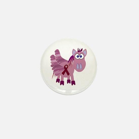 Burgundy Awareness Ribbon Pegasus Mini Button
