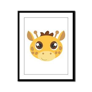 Cute Giraffe Head Cartoon Framed Panel Print
