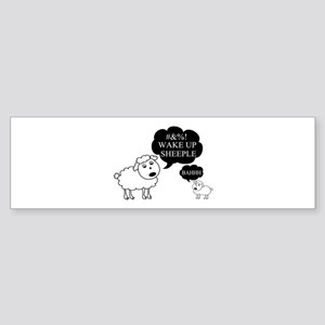 Sheep Says Wake Up Sheeple Sticker (Bumper)