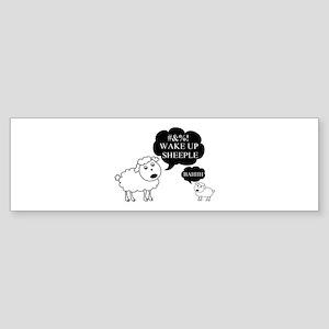 Sheep Says Wake Up Sheeple Sticker (Bumper)