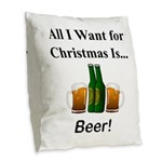 Christmas Beer Burlap Throw Pillow