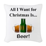 Christmas Beer Woven Throw Pillow
