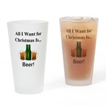 Christmas Beer Drinking Glass
