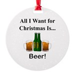 Christmas Beer Round Ornament