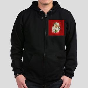 Vintage Christmas Santa Claus Zip Hoodie (dark)