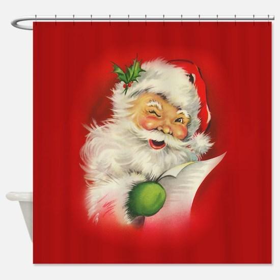 Vintage Christmas Santa Claus Shower Curtain