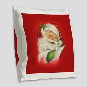 Vintage Christmas Santa Claus Burlap Throw Pillow