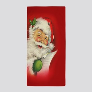 Vintage Christmas Santa Claus Beach Towel