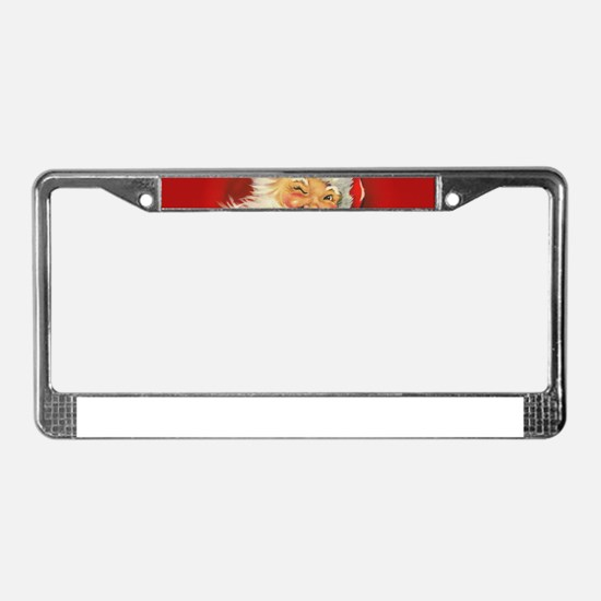 Vintage Christmas Santa Claus License Plate Frame