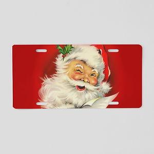 Vintage Christmas Santa Cla Aluminum License Plate