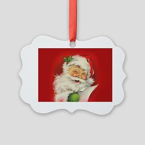 Vintage Christmas Santa Claus Picture Ornament