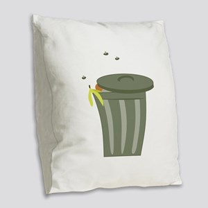 Trash Can Burlap Throw Pillow