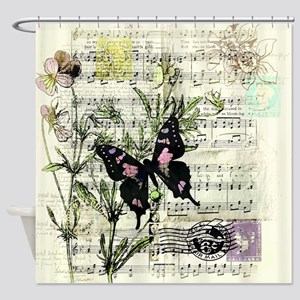 Pansies and music Shower Curtain