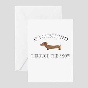 Dachshund Through The Snow Greeting Cards