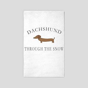 Dachshund Through The Snow Area Rug