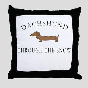 Dachshund Through The Snow Throw Pillow