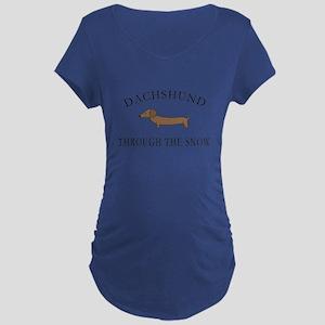 Dachshund Through The Snow Maternity T-Shirt
