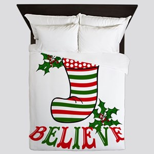 Christmas Stocking and Holly Believe Queen Duvet