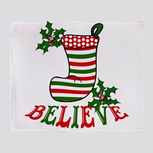 Christmas Stocking and Holly Believe Throw Blanket