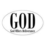God Offers Deliverance Christian Oval Sticker