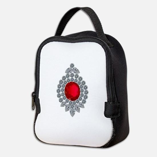 ruby brooch Neoprene Lunch Bag