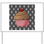 Pink Cupcake on Damask Yard Sign
