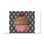 Pink Cupcake on Damask Rectangle Car Magnet