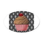 Pink Cupcake on Damask Oval Car Magnet