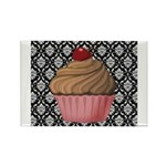Pink Cupcake on Damask Magnets