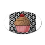 Pink Cupcake on Damask Wall Decal
