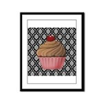 Pink Cupcake on Damask Framed Panel Print