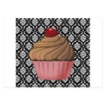 Pink Cupcake on Damask Invitations