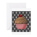 Pink Cupcake on Damask Greeting Cards