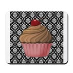 Pink Cupcake on Damask Mousepad