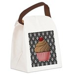 Pink Cupcake on Damask Canvas Lunch Bag