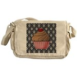 Pink Cupcake on Damask Messenger Bag