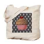 Pink Cupcake on Damask Tote Bag