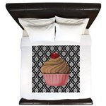 Pink Cupcake on Damask King Duvet