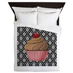 Pink Cupcake on Damask Queen Duvet